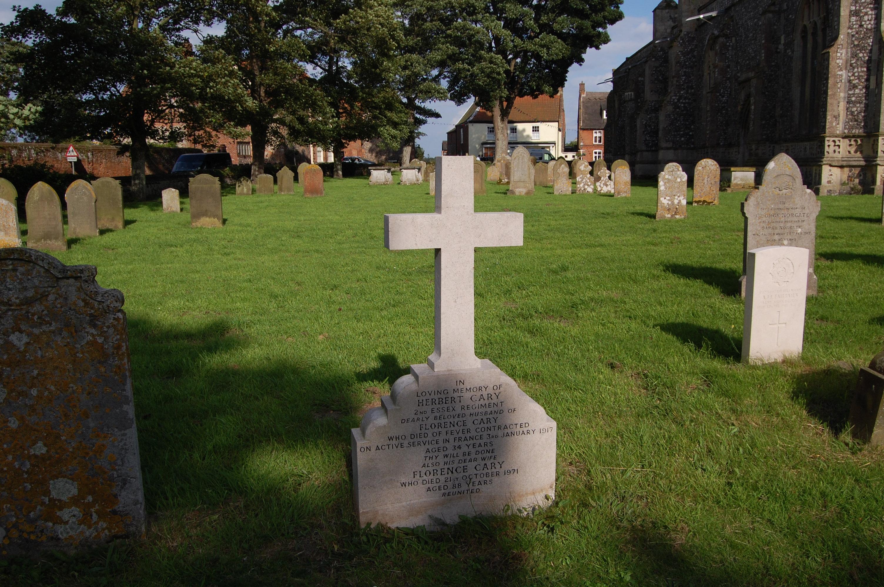 Herbert's grave in Worstead Churchyard